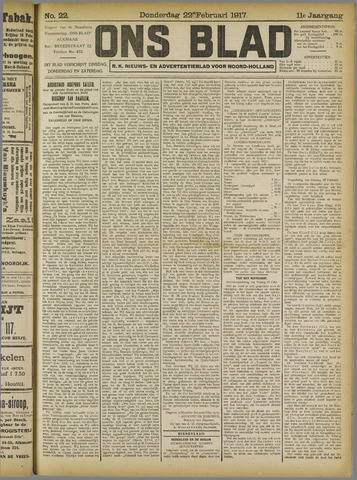 Ons Blad : katholiek nieuwsblad voor N-H 1917-02-22