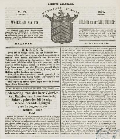 Weekblad van Den Helder en het Nieuwediep 1850-12-23