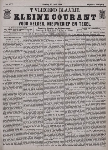 Vliegend blaadje : nieuws- en advertentiebode voor Den Helder 1881-07-12