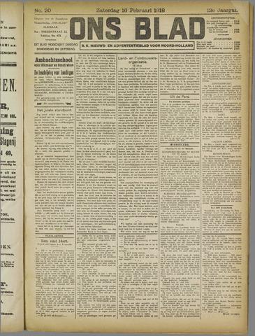 Ons Blad : katholiek nieuwsblad voor N-H 1918-02-16