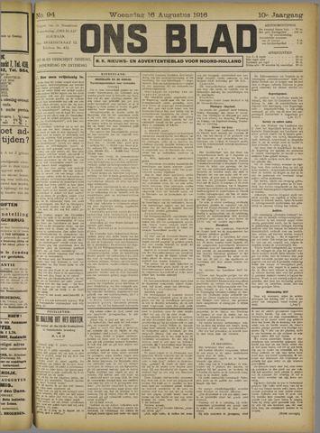 Ons Blad : katholiek nieuwsblad voor N-H 1916-08-16