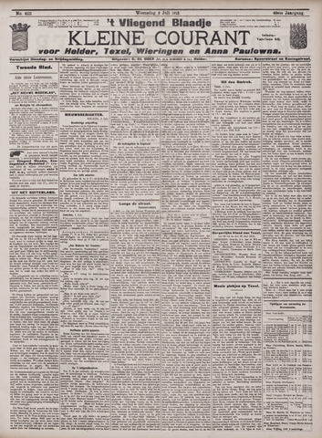Vliegend blaadje : nieuws- en advertentiebode voor Den Helder 1912-07-03