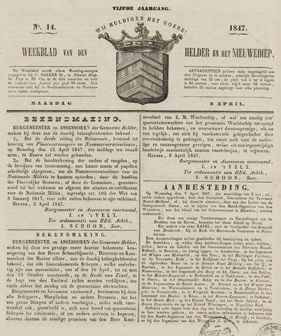 Weekblad van Den Helder en het Nieuwediep 1847-04-05