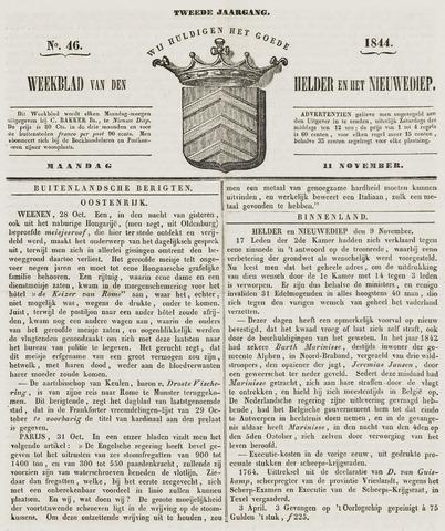 Weekblad van Den Helder en het Nieuwediep 1844-11-11
