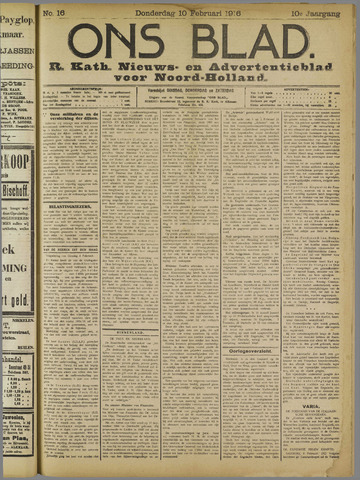 Ons Blad : katholiek nieuwsblad voor N-H 1916-02-10
