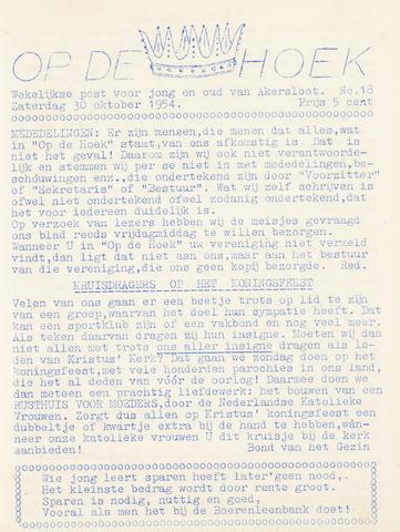 Op De Hoek, weekblad voor Akersloot 1954-10-30