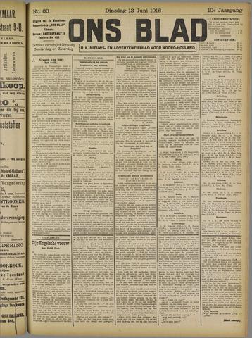 Ons Blad : katholiek nieuwsblad voor N-H 1916-06-13