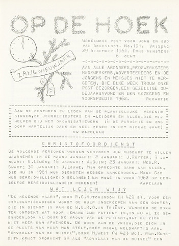 Op De Hoek, weekblad voor Akersloot 1961-12-29