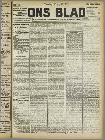 Ons Blad : katholiek nieuwsblad voor N-H 1916-04-25