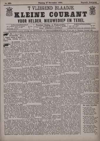 Vliegend blaadje : nieuws- en advertentiebode voor Den Helder 1881-12-27
