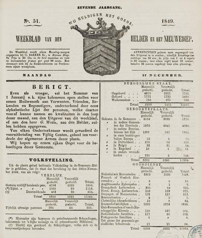 Weekblad van Den Helder en het Nieuwediep 1849-12-17