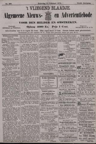 Vliegend blaadje : nieuws- en advertentiebode voor Den Helder 1875-02-13