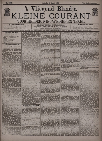 Vliegend blaadje : nieuws- en advertentiebode voor Den Helder 1886-03-06
