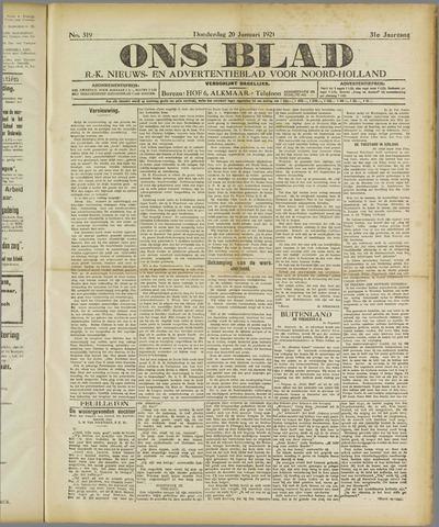Ons Blad : katholiek nieuwsblad voor N-H 1921-01-20
