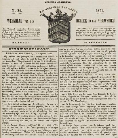 Weekblad van Den Helder en het Nieuwediep 1851-08-18