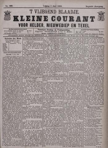 Vliegend blaadje : nieuws- en advertentiebode voor Den Helder 1881-06-03
