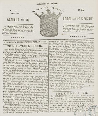 Weekblad van Den Helder en het Nieuwediep 1849-10-08