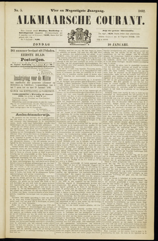 Alkmaarsche Courant 1892-01-10