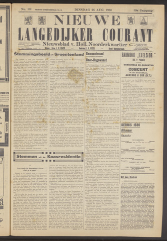 Nieuwe Langedijker Courant 1930-08-26