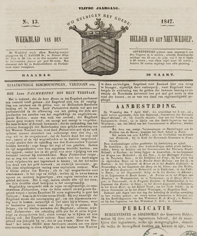 Weekblad van Den Helder en het Nieuwediep 1847-03-29