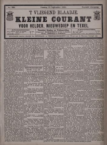 Vliegend blaadje : nieuws- en advertentiebode voor Den Helder 1881-09-13
