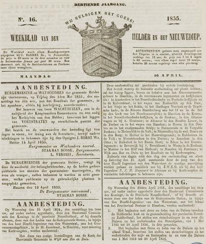 Weekblad van Den Helder en het Nieuwediep 1855-04-16