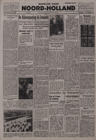 Dagblad Noord-Holland, Schager editie 1942-11-03