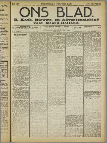 Ons Blad : katholiek nieuwsblad voor N-H 1916-02-03