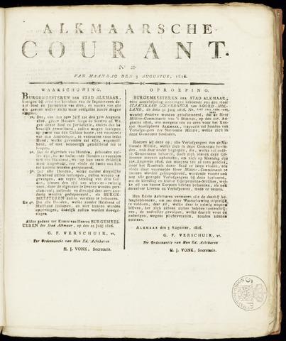 Alkmaarsche Courant 1816-08-05