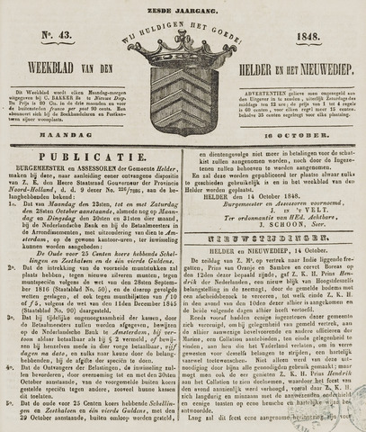 Weekblad van Den Helder en het Nieuwediep 1848-10-16