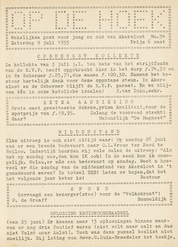 Op De Hoek, weekblad voor Akersloot 1955-07-09