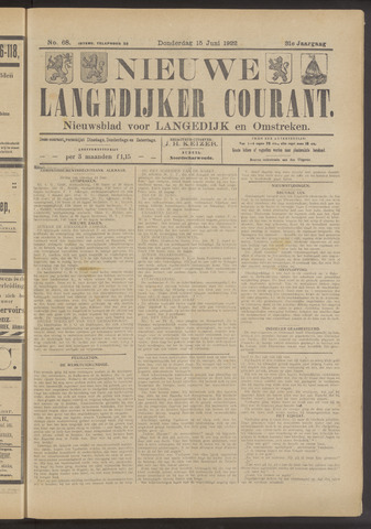 Nieuwe Langedijker Courant 1922-06-15