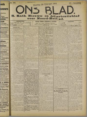 Ons Blad : katholiek nieuwsblad voor N-H 1916-02-29