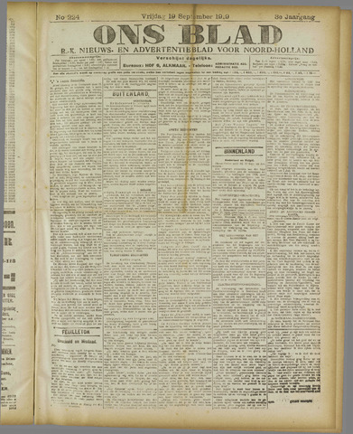 Ons Blad : katholiek nieuwsblad voor N-H 1919-09-19