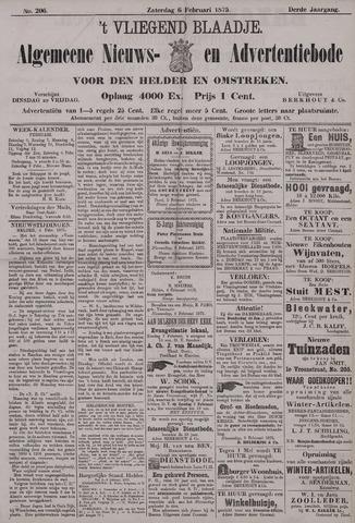 Vliegend blaadje : nieuws- en advertentiebode voor Den Helder 1875-02-06