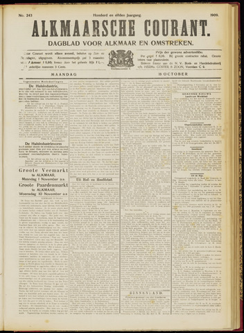Alkmaarsche Courant 1909-10-18