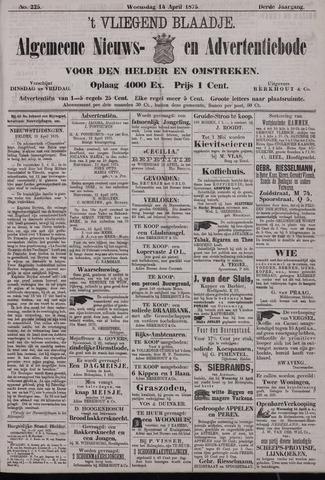 Vliegend blaadje : nieuws- en advertentiebode voor Den Helder 1875-04-14