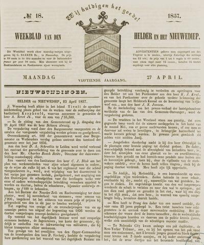 Weekblad van Den Helder en het Nieuwediep 1857-04-27
