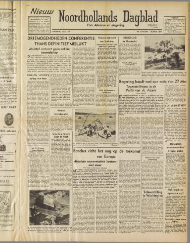 Nieuw Noordhollandsch Dagblad : voor Alkmaar en omgeving 1947-07-03