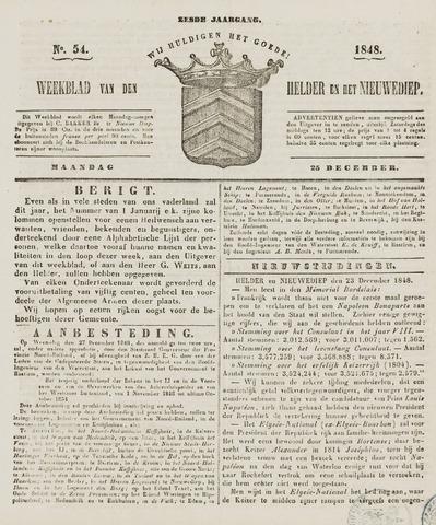 Weekblad van Den Helder en het Nieuwediep 1848-12-25