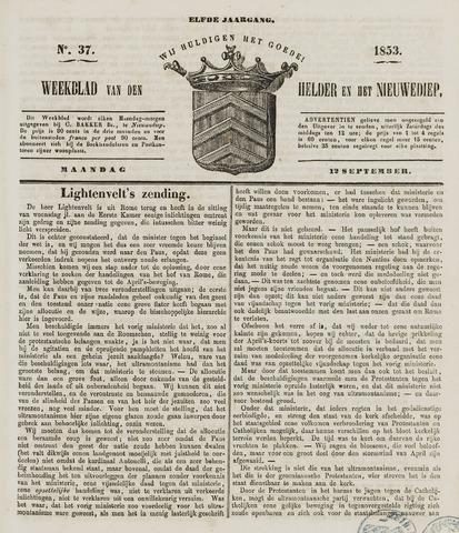 Weekblad van Den Helder en het Nieuwediep 1853-09-12