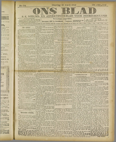 Ons Blad : katholiek nieuwsblad voor N-H 1919-04-15