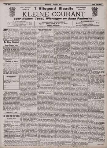 Vliegend blaadje : nieuws- en advertentiebode voor Den Helder 1902-10-01