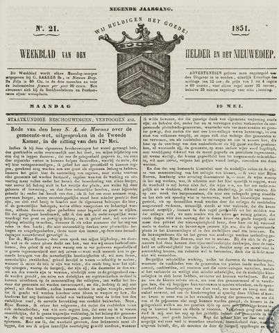 Weekblad van Den Helder en het Nieuwediep 1851-05-19