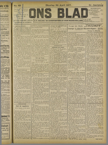 Ons Blad : katholiek nieuwsblad voor N-H 1917-04-24