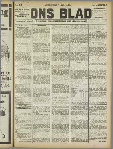 Ons Blad : katholiek nieuwsblad voor N-H 1916-05-04
