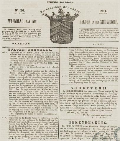 Weekblad van Den Helder en het Nieuwediep 1851-05-12