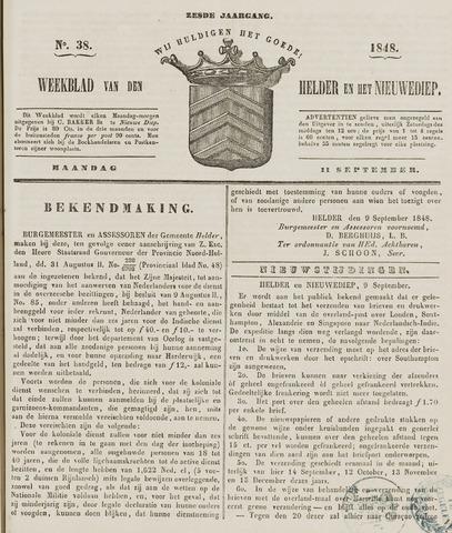 Weekblad van Den Helder en het Nieuwediep 1848-09-11