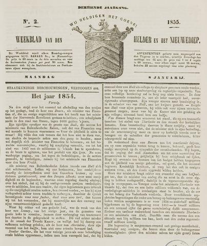 Weekblad van Den Helder en het Nieuwediep 1855-01-08