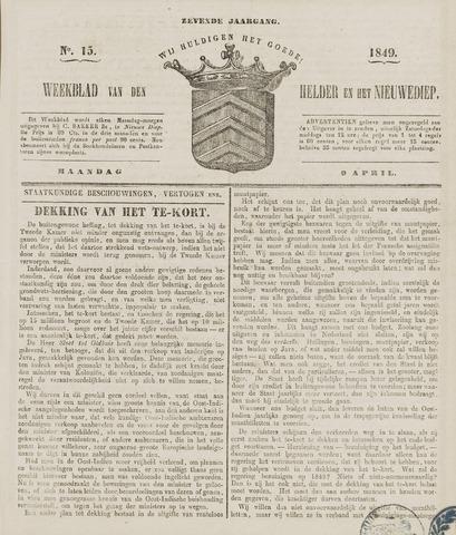Weekblad van Den Helder en het Nieuwediep 1849-04-09